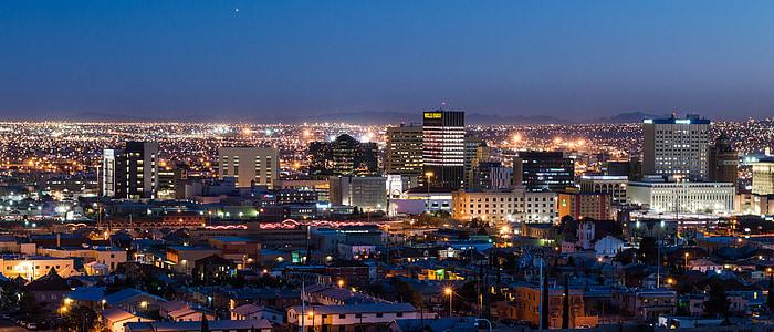 el paso, night, city, lights, city at night, night photograph, panorama