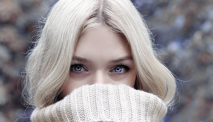 ziemas, sieviete, skatieties, blond, skaista sieviete, skaistumu, seja