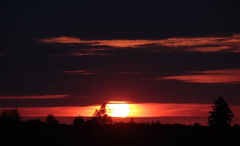 pôr do sol, sol, céu, abendstimmung, pôr do sol, nuvens, céu da noite
