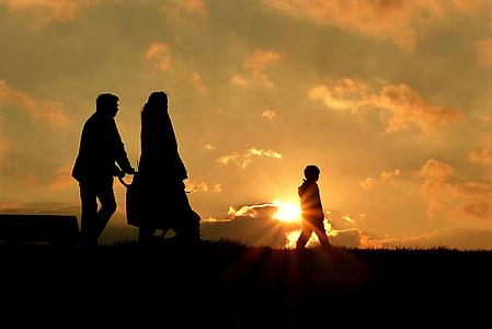 walk, family, sun, sunset, silhouette, people, outdoors