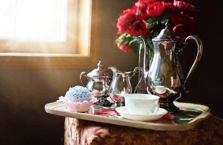 joc de te de plata, plata, Tetera, te, conjunt, tradicional, anyada