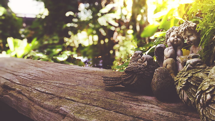 taula, fusta, taula de fusta, jardí de Cupido, escultura, Estàtua de jardí cupidos taula taula de fusta, arbre