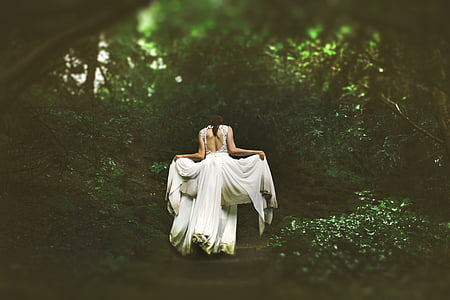 girl, gown, leaves, nature, outdoors, wedding dress, woman