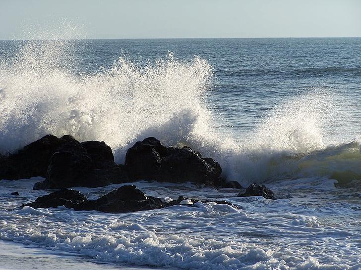 víz, tenger, hullámok, Surf, óceán, sziklák, spray