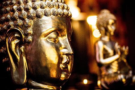 Buddha, Zelts, Budisms, zelta Budas, Āzija, zeltītiem, statuja
