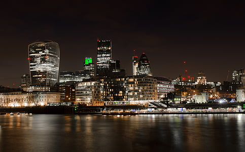 london, city, skyline, night, the city, financial district, business