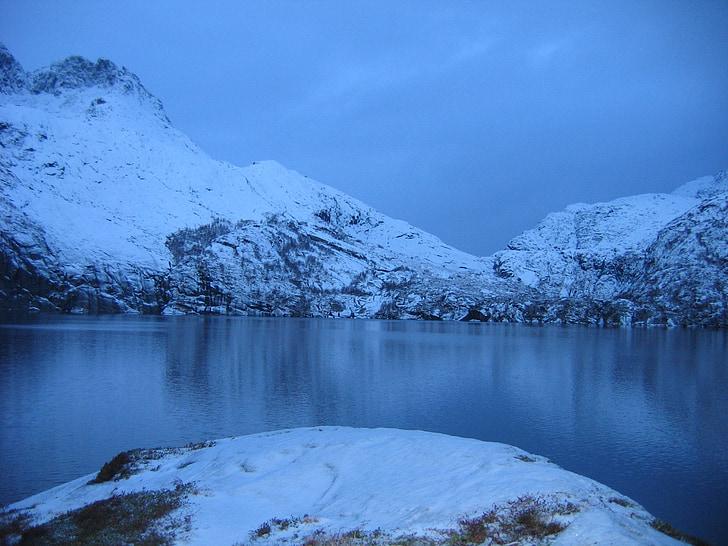 noite polar, Lofoten, Noruega, neve, montanha, natureza, Lago