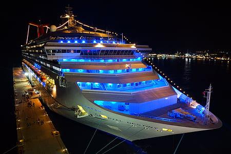 krydstogtskib, nat, neon lys, krydstogt, port, rejse, søen