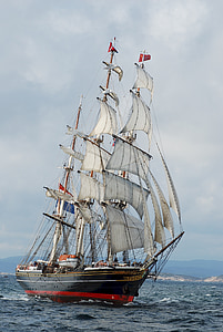 clipper ship, three masted, sails, stad amsterdam, fast, dutch, sea