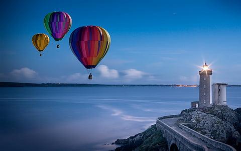 балон, горещ въздушен балон машинист, мисия, фара, вечерта, небе, блясък