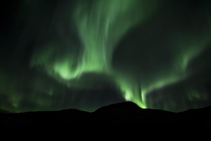 màu xanh lá cây, Aurora, borealis, đêm, núi, bầu trời, bầu trời đêm