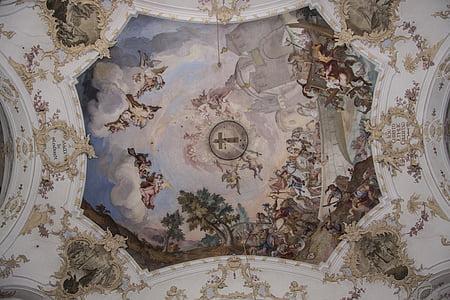 fresk, barok, Kościół, budynek, chrześcijaństwo, Architektura, Bawaria