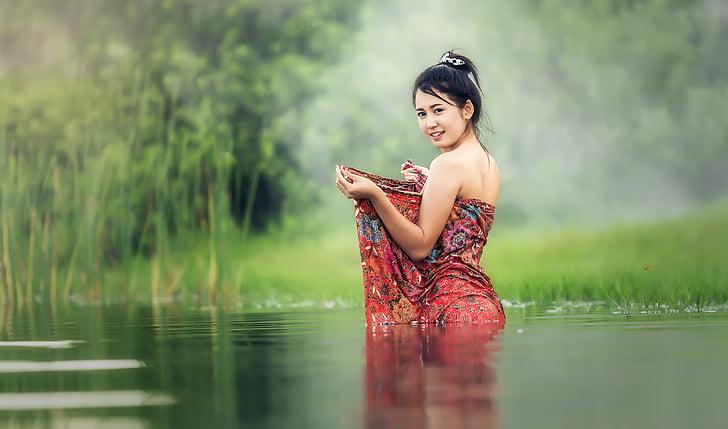 욕조, 맨 손으로, 젊은, beauliful, 강, 아시아, 캄보디아