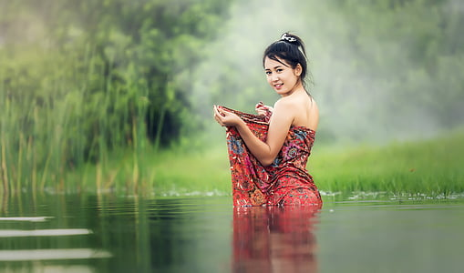 bathtub, bare, young, beauliful, river, asia, cambodia