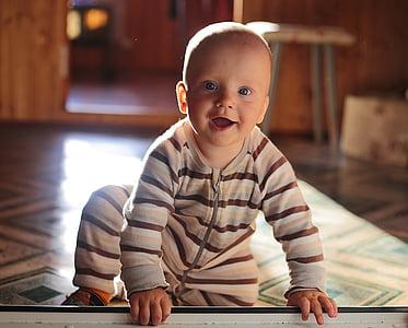 nen, somriure, noi, fill, home guapo, fotos, nadó