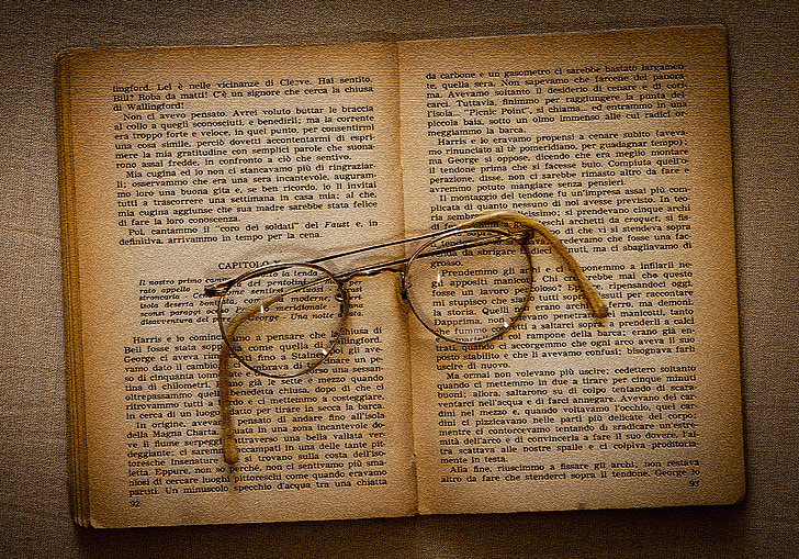 bril, boek, oude, lezen, literatuur, Open boek