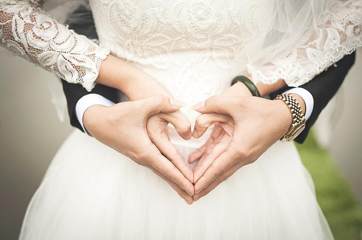 hjerte, Kærlighed, symbol, hvid, hænder, romantisk, liv