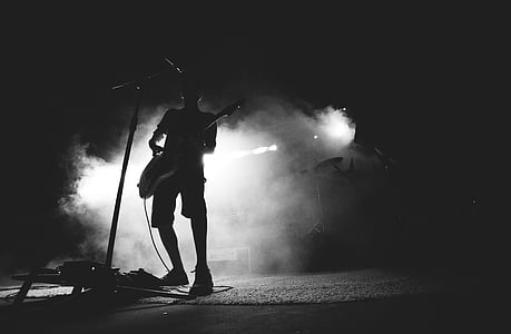 grayscale, photo, person, playing, guitar, music, concert music