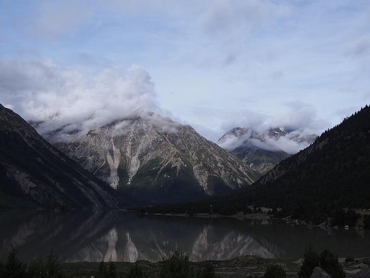 el paisatge, natura, altiplà, muntanya, neu, representacions, Llac