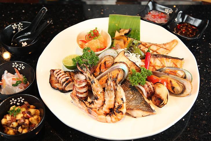 plodovi mora, roštilj, riblji roštilj, ukusna, restoran, pržena, ukusna