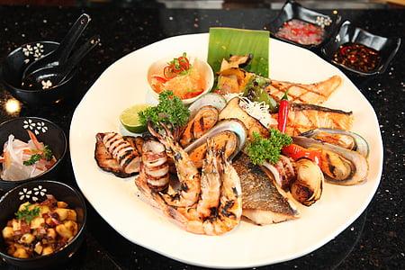 海鲜, 烧烤, 海鲜烧烤, 美味, 餐厅, 烤, 美味
