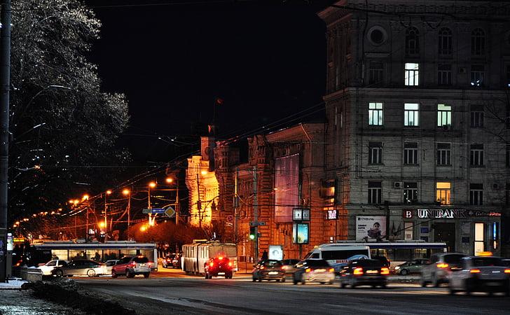città, notte, il paesaggio urbano, città di notte, luci notturne, vista di notte, strada
