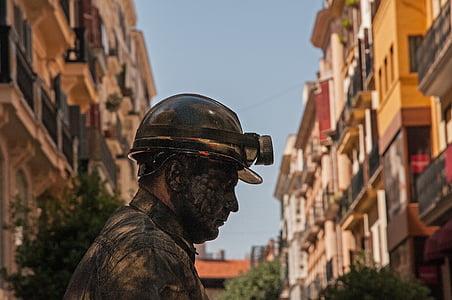 gruvarbetare, gruvdrift, konstnärer, mannen, ansikte, person, mänskliga