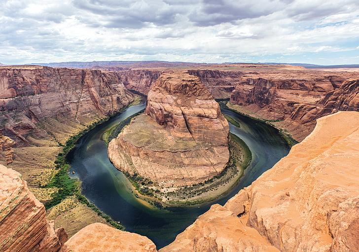 curva da ferradura, Arizona, pedras, natural, paisagem, cores, pedra
