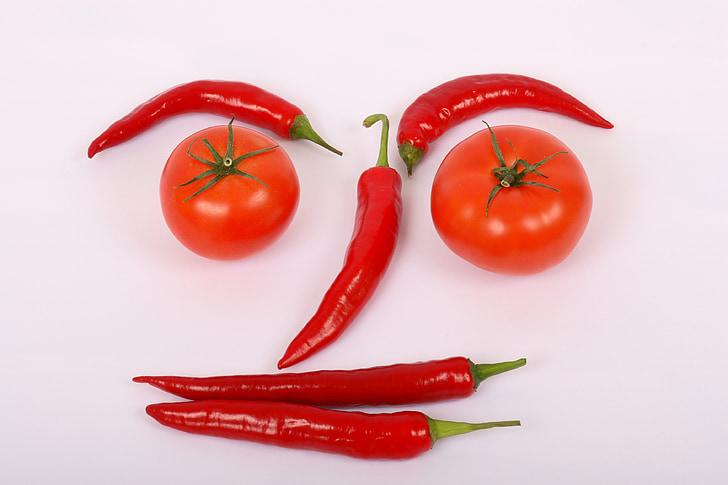 köögiviljad, punane, Armas, pipar, kuum, tomat, värske