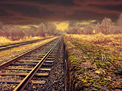 railway, landscape, transportation, weather, moody, scene, rail tracks
