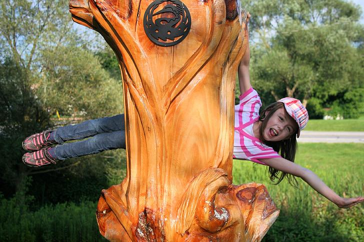 Момиче, дете, игра, илюзия, дърворезба, дърворезба, Крейн