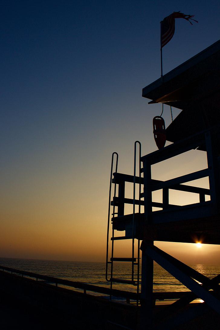 Venice beach, badmeester, zonsondergang, Californië