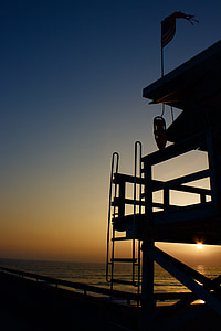venice beach, lifeguard, sunset, california