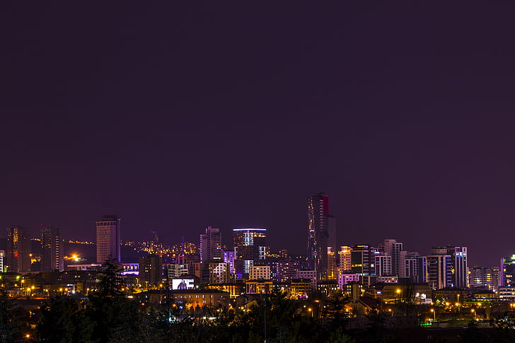buildings, city, city life, city lights, high-rises, night, sky