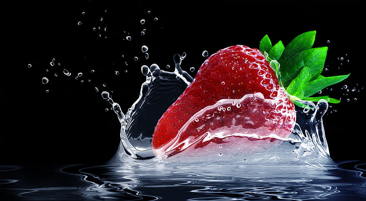 jordbær, vannsprut, Splash, dråpe vann, frukt, søt, rød