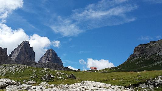 lavaredo, dolomites, mountain, landscape, daylight