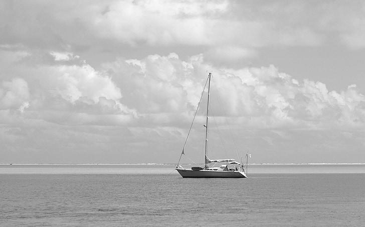 segelbåt, Sky, svart och vitt