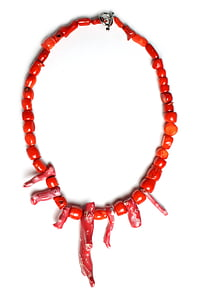 vermell, Coral, Collaret, Bead, gra, oceà, natural