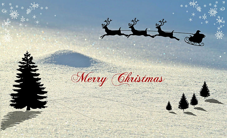 คริสมาสต์, การ์ดคริสต์มาส, ฤดูหนาว, ภูมิทัศน์หิมะ, เลื่อนกวางเรนเดียร์, ซานตาคลอส, ทักทายคริสต์มาส
