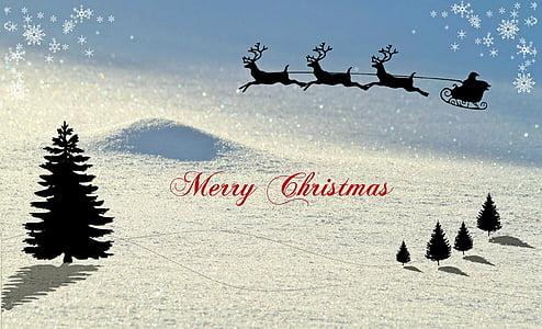 Natal, kartu Natal, musim dingin, salju lanskap, rusa giring, Santa claus, Salam Natal