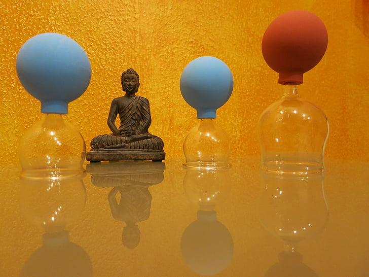 ventouses, massage, massage ventouses, lunettes, piston, Bouddha, Figure