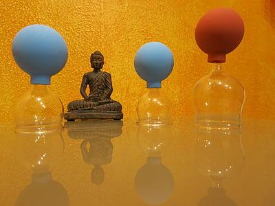 köpölyözés, masszázs, köpölyözés masszázs, szemüveg, dugattyú, Buddha, ábra