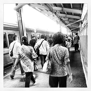 train, station, people, movement, grunge, vintage, walking