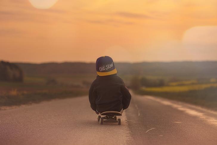 Skeitbords, bērnu, zēns, saulriets, vakara blāzma, ainava, skateboarding