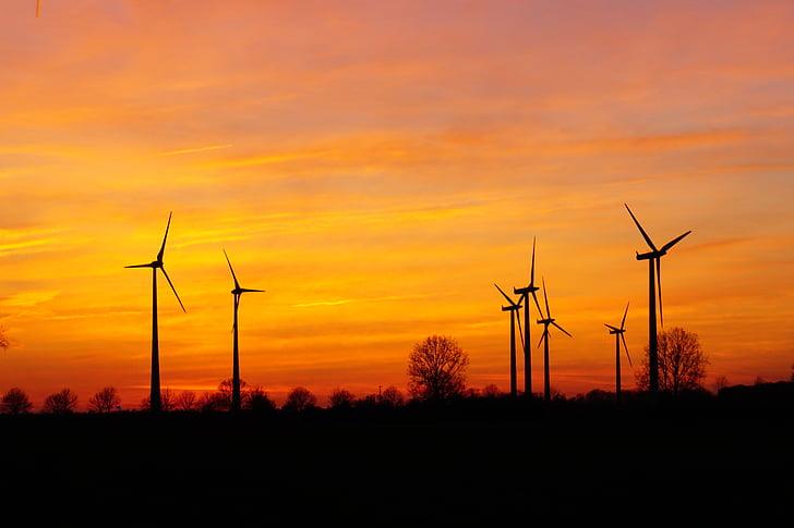 windräder, Sunset, tuuleenergia, Õhtune taevas, tuulepargi, Afterglow, energia