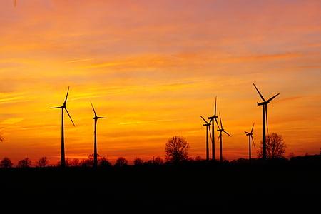 windräder, posta de sol, energia eòlica, cel de nit, Parc del vent, Afterglow, energia