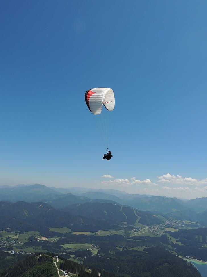 paragliding, bjerge, flyve, paraglider, dom, sommer, Østrig
