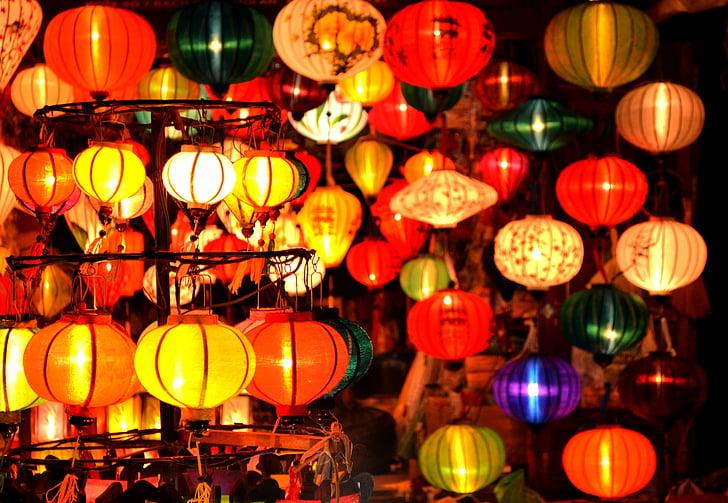 Вьетнам, Фонари, Хой, Ночной рынок, красочные