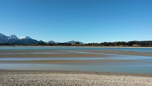 forggensee-tótól, Bajorország, Füssen, többi, ki, szabadidő, természet