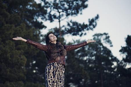 people, woman, fashion, beauty, nature, trees, green